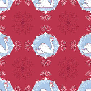 Swan Cameo in Red with Water Lilies seamless pattern background.