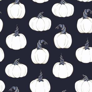 Magical Pumpkins on dark seamless pattern background.