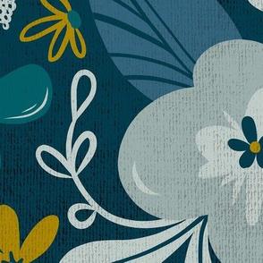 Greyson - Boho Floral - Jumbo Scale - Dark Floral - Teal Blue