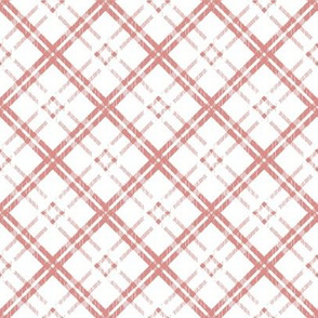 Rose Pink Plaid on White Background