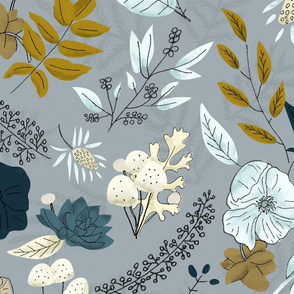 Bright Winter Florals - Grey