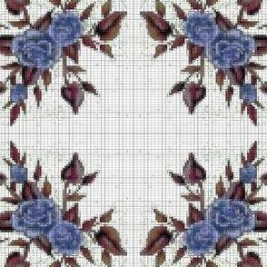cross stich blue rose