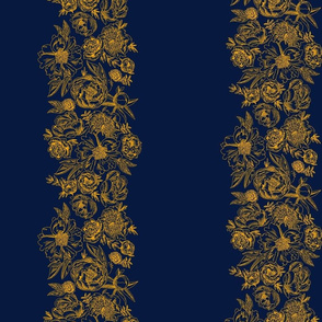cc pattern just floral stripes gold on navy