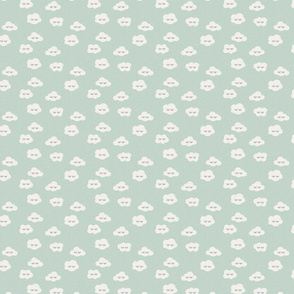 Small // mint green Sleepy clouds kids prints