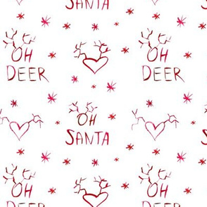 Oh deer, oh santa in red ll watercolor christmas