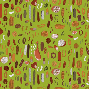 Charcuterie on green