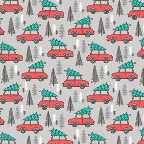 Holiday Christmas Tree Red Car Woodland Fall on Grey Smaller Tiny 1,5 inch