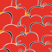 Red apples on orange / amber background