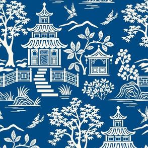 Chinoiserie Pagoda Dark Blue