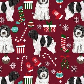 schapendoes dog christmas fabric - dutch sheepdog fabric, schapendoes fabric - ruby