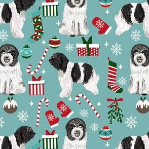 schapendoes dog christmas fabric - dutch sheepdog fabric, schapendoes fabric - blue