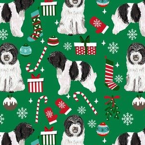 schapendoes dog christmas fabric - dutch sheepdog fabric, schapendoes fabric - green