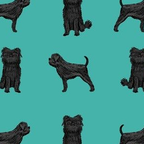 affenpinscher dog fabric - black dog fabric, affenspinscher fabric - teal