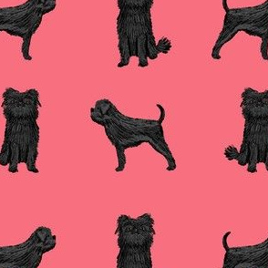 affenpinscher dog fabric - black dog fabric, affenspinscher fabric - pink
