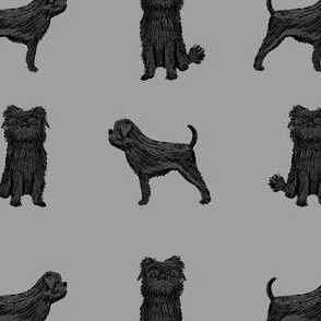 affenpinscher dog fabric - black dog fabric, affenspinscher fabric - grey