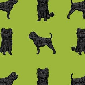 affenpinscher dog fabric - black dog fabric, affenspinscher fabric - lime