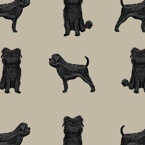 affenpinscher dog fabric - black dog fabric, affenspinscher fabric - khaki