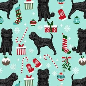 affenpinscher dog fabric - christmas dog fabric, affenpinscher fabric - dog fabric, holiday dog - mint