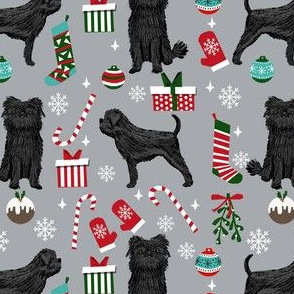 affenpinscher dog fabric - christmas dog fabric, affenpinscher fabric - dog fabric, holiday dog - grey