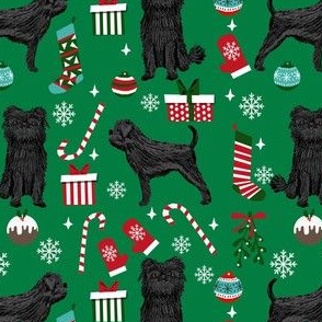 affenpinscher dog fabric - christmas dog fabric, affenpinscher fabric - dog fabric, holiday dog - green