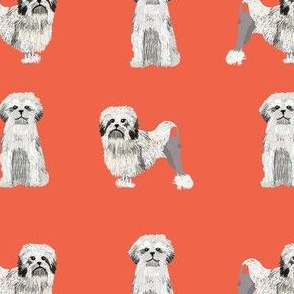 lowchen dog fabric - little lion dog fabric, dog fabric, lowchen fabric - orange