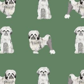 lowchen dog fabric - little lion dog fabric, dog fabric, lowchen fabric - green