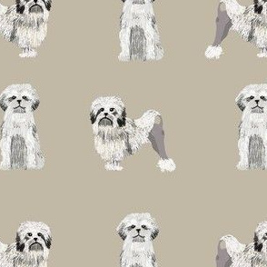 lowchen dog fabric - little lion dog fabric, dog fabric, lowchen fabric - khaki