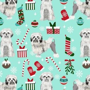 lowchen christmas fabric - lion dog fabric, little lion dog fabric, christmas dog fabric - mint