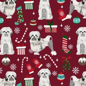 lowchen christmas fabric - lion dog fabric, little lion dog fabric, christmas dog fabric - ruby