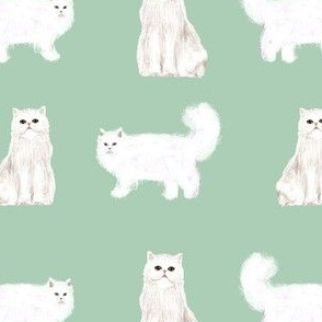 persian cat fabric - white cat, persian cat fabric -mint