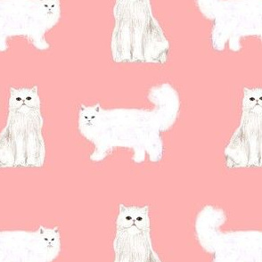 persian cat fabric - white cat, persian cat fabric -pink