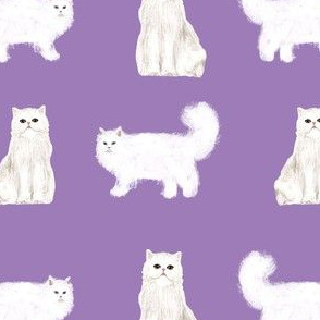 persian cat fabric - white cat, persian cat fabric - purple