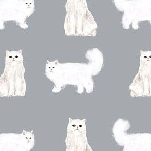 persian cat fabric - white cat, persian cat fabric -grey