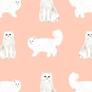 persian cat fabric - white cat, persian cat fabric - blush