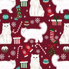 persian cat christmas fabric - cat christmas, christmas cat fabric, persian cat fabric - ruby
