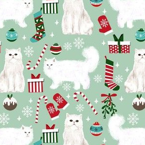 persian cat christmas fabric - cat christmas, christmas cat fabric, persian cat fabric -mint