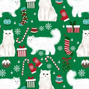 persian cat christmas fabric - cat christmas, christmas cat fabric, persian cat fabric - green