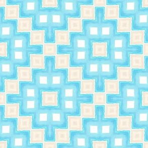 Oceans Within Waves Painterly Doll Quilt / Blue-Sand