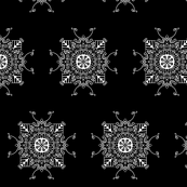 Elegant Mandala - white on black