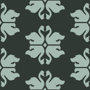 Swan Shapes with Rhombus on Dark Green seamless pattern background.
