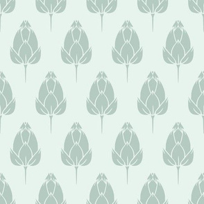 Water Lily Bud Field in Green seamless pattern background.