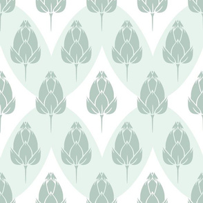 Water Lily Bud Field with Magical Rhombus in Greens seamless pattern background.