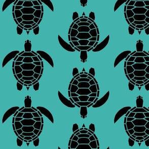 Three Inch Black Turtles on Verdigris
