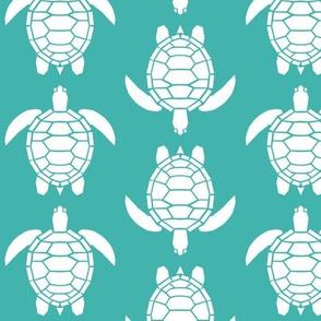 Three Inch White Turtles on Verdigris