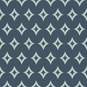 Abstract Magical Rhombus in Green and Navy Blue seamless pattern background.