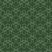 Forest Green /White Geometric Repeat