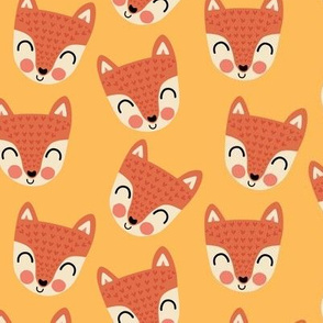 Happy scandi foxes on yellow