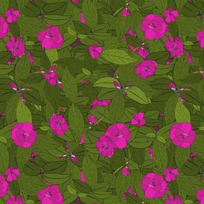 Camellia pink on dark magenta