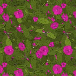 Camellia pink on dark moss