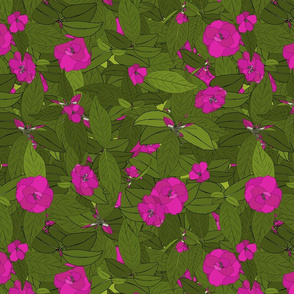 Camellia pink on green